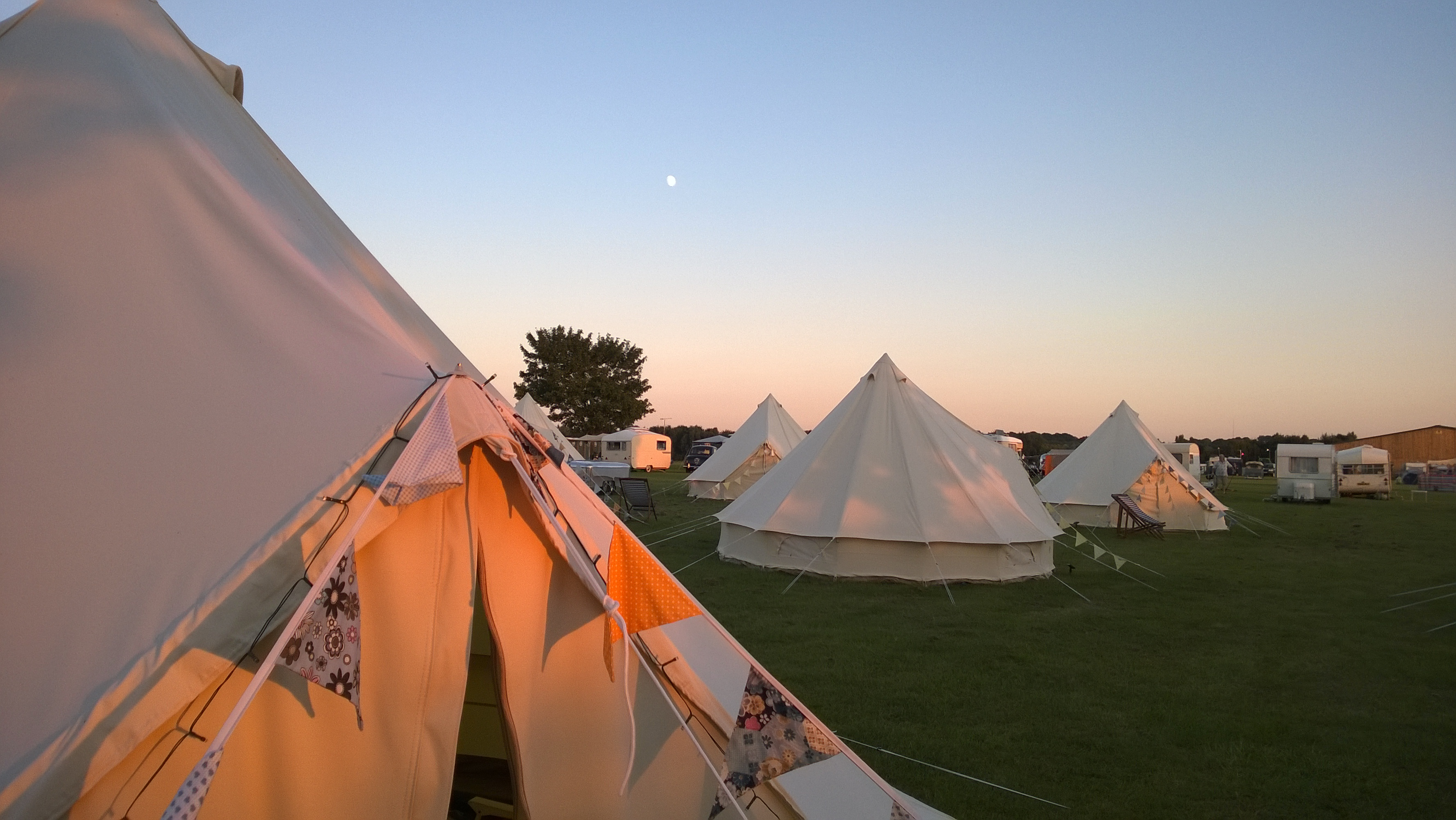 Sun setting on a brook bell tent