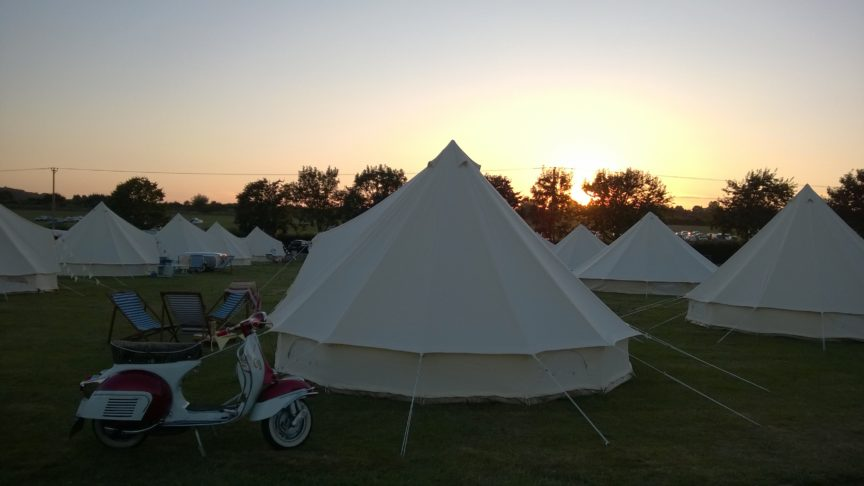 Scooter and bell tents at Retro Festival